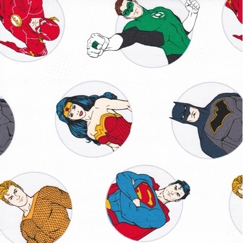DC Comics Justice League Activated Badges White Cotton Fabric
