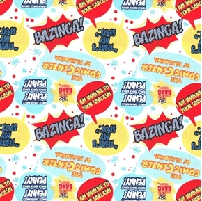 The Big Bang Theory Quotes Bazinga That's My Spot White Cotton Fabric