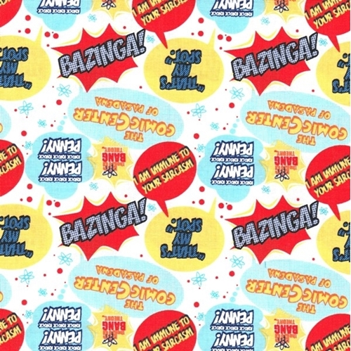 Picture of The Big Bang Theory Quotes Bazinga That's My Spot White Cotton Fabric