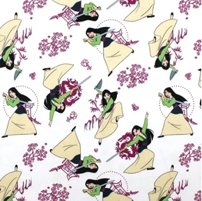 Picture of Disney Princess Heart Strong Mulan the Chinese Maiden Cotton Fabric