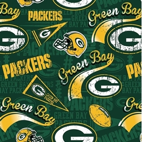 NFL Football Green Bay Packers Vintage-Look 2018 18x29 Cotton Fabric