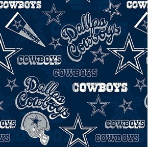 NFL Football Dallas Cowboys Vintage-Look 2018 18x29 Cotton Fabric