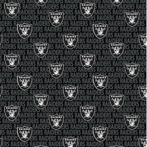 Picture of NFL Football Oakland Raiders 2018 Logo Names 18x29 Black Cotton Fabric