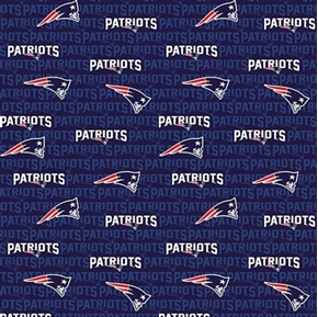 NFL Football New England Patriots 2018 Logo and Name Cotton Fabric