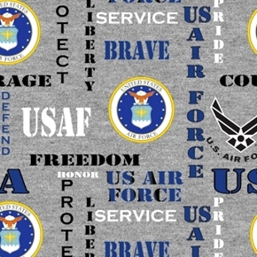 Picture of Military US Air Force Insignia Honor Pride Courage Grey Cotton Fabric