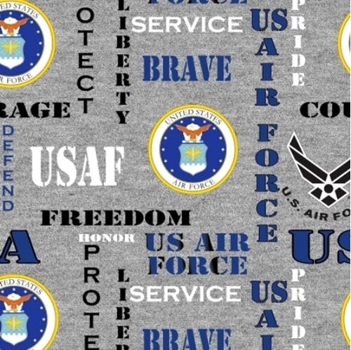 Military US Air Force Insignia Honor Pride Courage Grey Cotton Fabric