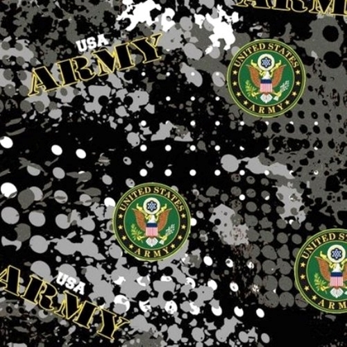 Military US Army Insignia Camouflage Black Grey Camo Cotton Fabric
