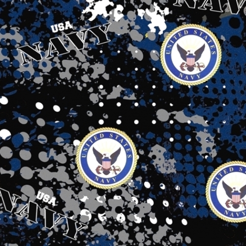 Military US Navy Insignia Camouflage Blue Grey Camo Cotton Fabric