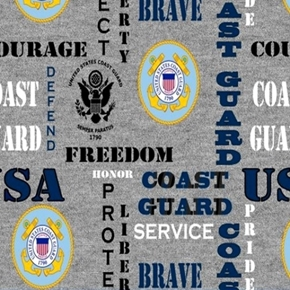 Military Coast Guard Insignia Honor Pride Courage Grey Cotton Fabric