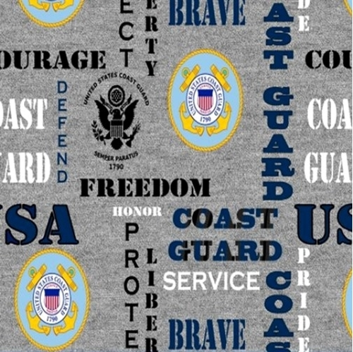 Picture of Military Coast Guard Insignia Honor Pride Courage Grey Cotton Fabric