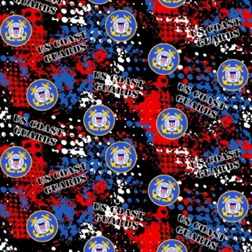 Military US Coast Guard Camouflage Red Blue Black Camo Cotton Fabric