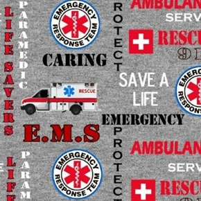 Emergency Rescue Team EMS 911 Save a Life Paramedic Grey Cotton Fabric