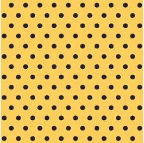 Picture of Disney Minnie Mouse Black Dots on Yellow Polka Dot Cotton Fabric