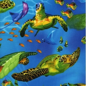 Sea Turtles Skate Stingray Fish Turtle Underwater Cotton Fabric