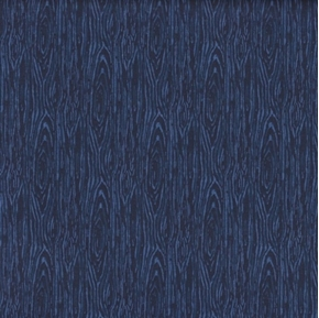 Im Board Wood Grain Navy Blue Cotton Fabric
