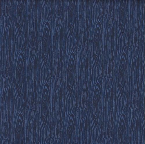 Im Board Wood Grain Navy Blue Cotton Fabric