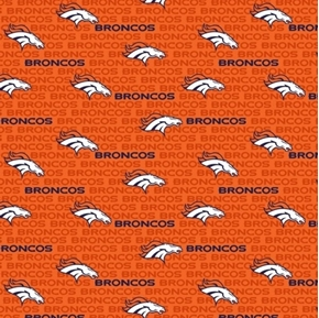 NFL Football Denver Broncos 2018 Logo Names 18x29 Orange Cotton Fabric