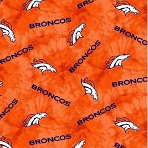 Picture of Flannel NFL Football Denver Broncos Orange Marbled Cotton Fabric