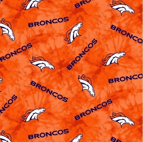 Flannel NFL Football Denver Broncos Orange Marbled Cotton Fabric