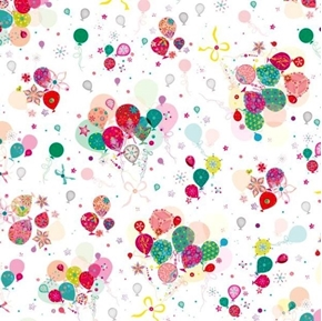 Lets Celebrate Bunch of Balloons Decorated Balloon White Cotton Fabric