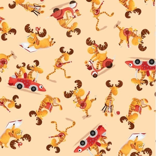 Picture of Moose On The Loose Moose Toss Comical Funny Beige Cotton Fabric