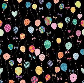 Picture of Lets Celebrate Balloons Decorated Balloon and Bows Black Cotton Fabric
