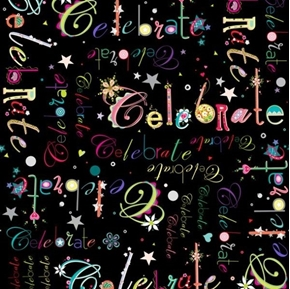 Picture of Lets Celebrate Words Party Candles Birthday Black Cotton Fabric