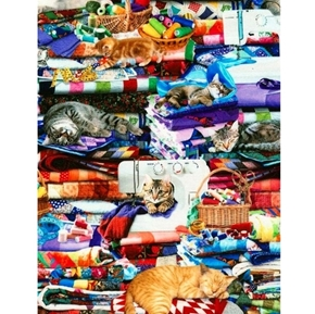 Picture of Cats on Quilts Kittens in the Sewing Room Digital Cotton Fabric
