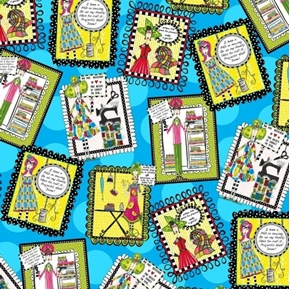 Picture of Sew Sassy Sewing Patches Tossed Funny Sayings Blue Cotton Fabric