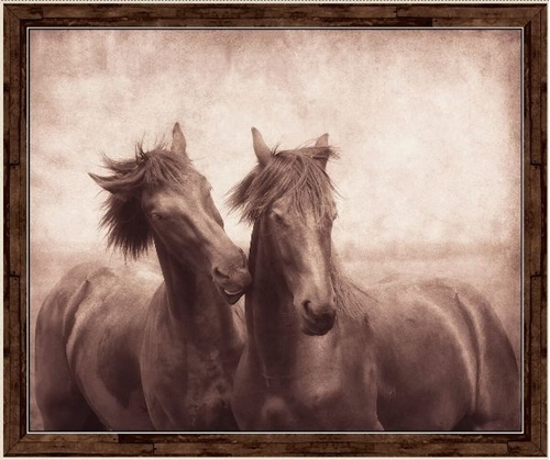 Artworks X Horse 2 Horses in Sepia Cotton Fabric Panel