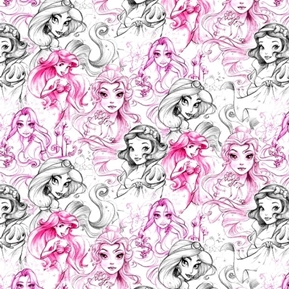 Picture of Disney Princess Sketch Drawing Artwork Pink Purple Grey Cotton Fabric