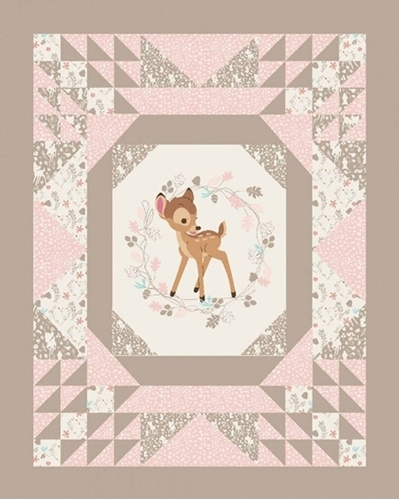 Picture of Disney Bambi Quilt Top Pink and Tan Large Cotton Fabric Panel