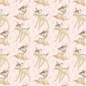 Picture of Disney Bambi Toss Bambi and Leaves Light Pink Cotton Fabric