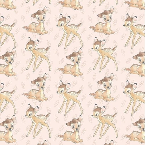 Disney Bambi Toss Bambi and Leaves Light Pink Cotton Fabric
