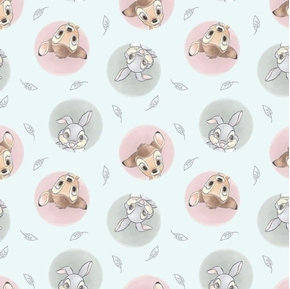 Picture of Disney Bambi and Thumper Badges White Cotton Fabric
