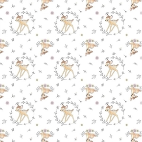Disney Framed Bambi Cute Bambi and Leaves Ivory Cotton Fabric