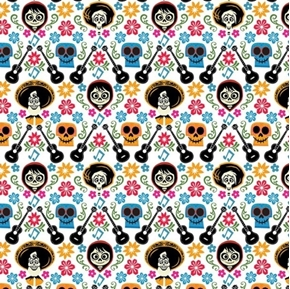 Disney Coco Land of the Dead Skulls Guitar Toss White Cotton Fabric