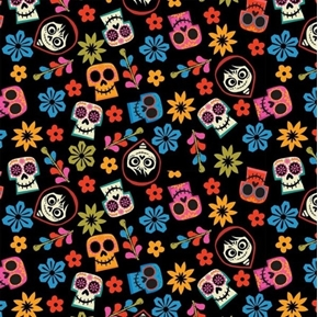 Picture of Disney Coco Movie Land of the Dead Skull Toss Black Cotton Fabric