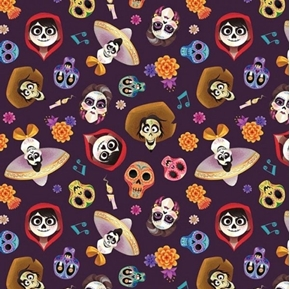 Picture of Disney Coco and Friends Head Toss Movie Plum Cotton Fabric
