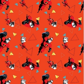 Disney The Incredibles Mr Incredible and Dash Orange Cotton Fabric