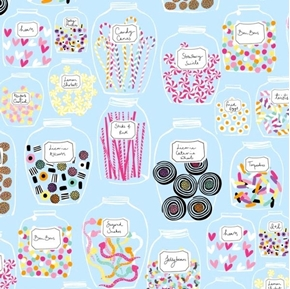 Picture of Sugar Rush Candy Jars Confections Sweets Light Blue Cotton Fabric