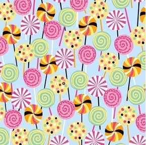 Picture of Sugar Rush Lollipops Suckers Candy Sweets Light Blue Cotton Fabric
