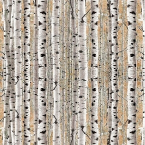 Timberland Trail Birch Trees Forrest Woods Tan Cotton Fabric