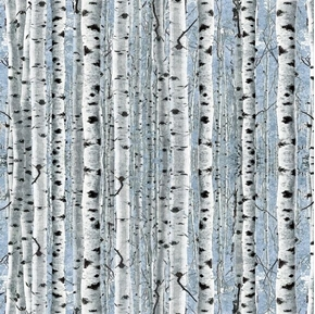 Timberland Trail Birch Trees Forrest Woods Blue Cotton Fabric