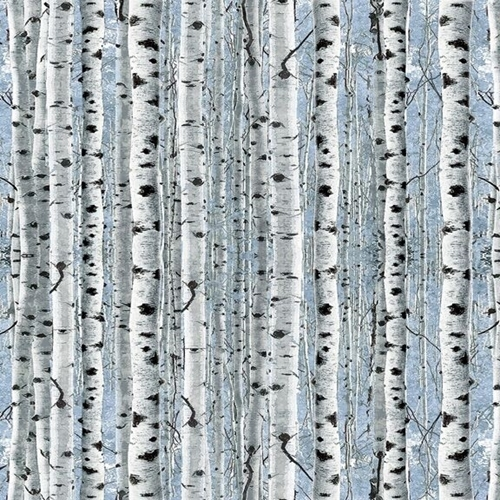 Picture of Timberland Trail Birch Trees Forrest Woods Blue Cotton Fabric