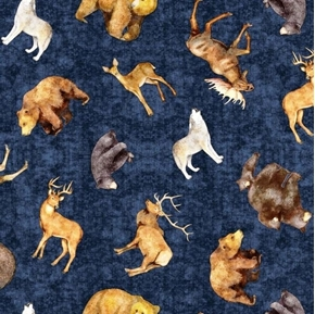 Picture of Timberland Trail Tossed Animals Bear Wolf Deer Blue Cotton Fabric