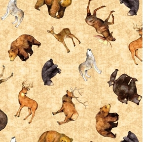 Timberland Trail Tossed Animals Bear Wolf Deer Beige Cotton Fabric