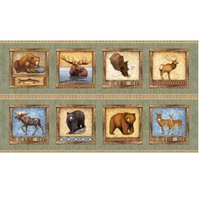 Timberland Trail Animal Picture Patches Sage 24x44 Cotton Fabric Panel
