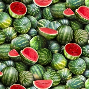 Food Festival Watermelons Green Melon with Seeds Cotton Fabric