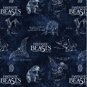 Picture of Wizarding World Fantastic Beasts Logo and Creatures Navy Cotton Fabric